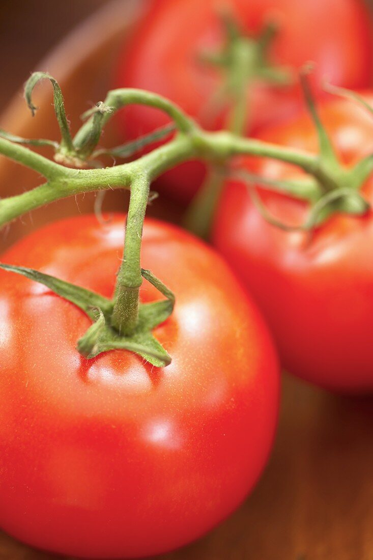 Organic Vine Ripened Tomatoes in a Wooden Bowl