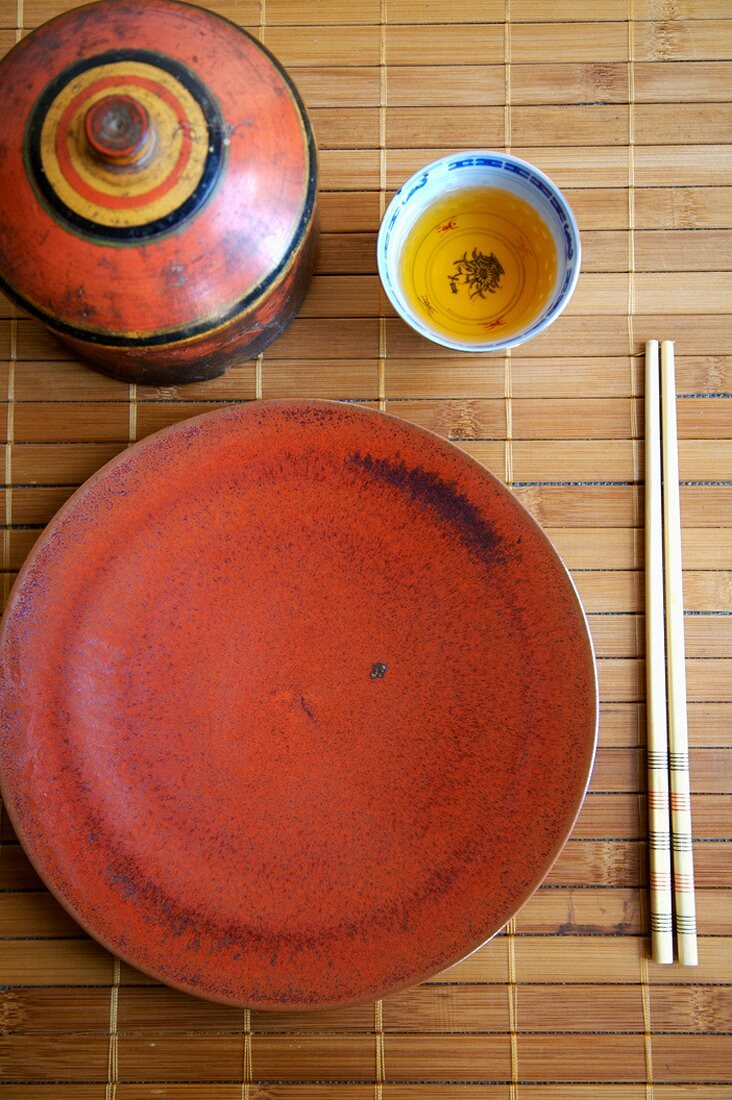 Asian Place Setting on Bamboo