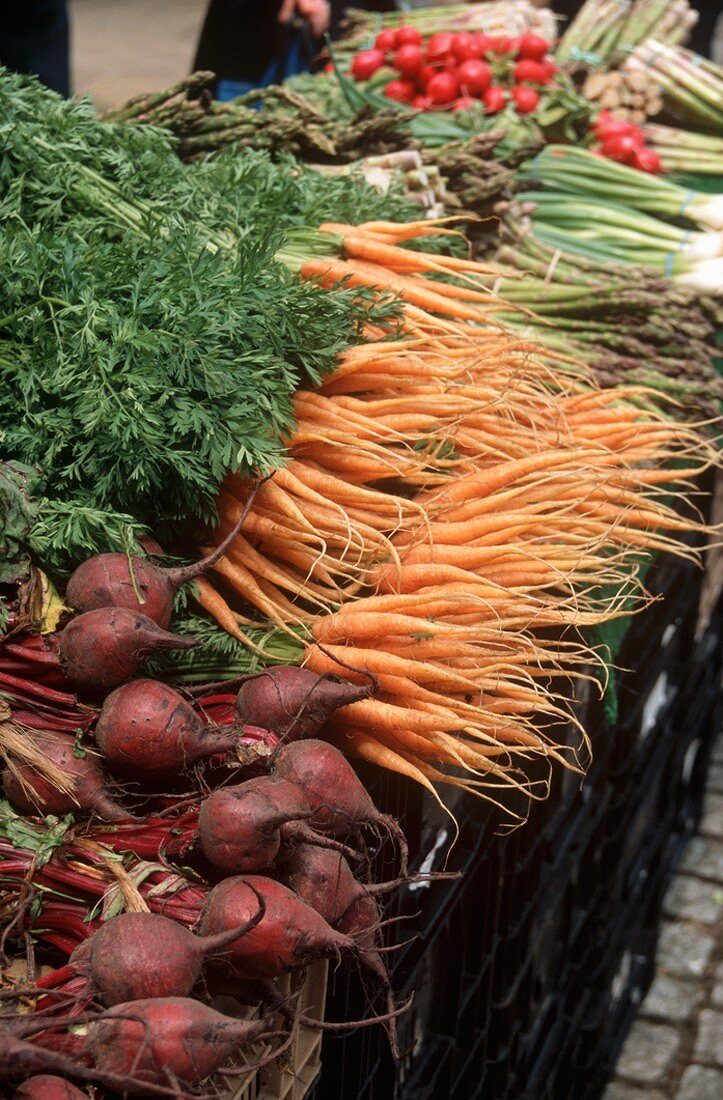 Organic Carrots and Beets at a Farmers Market