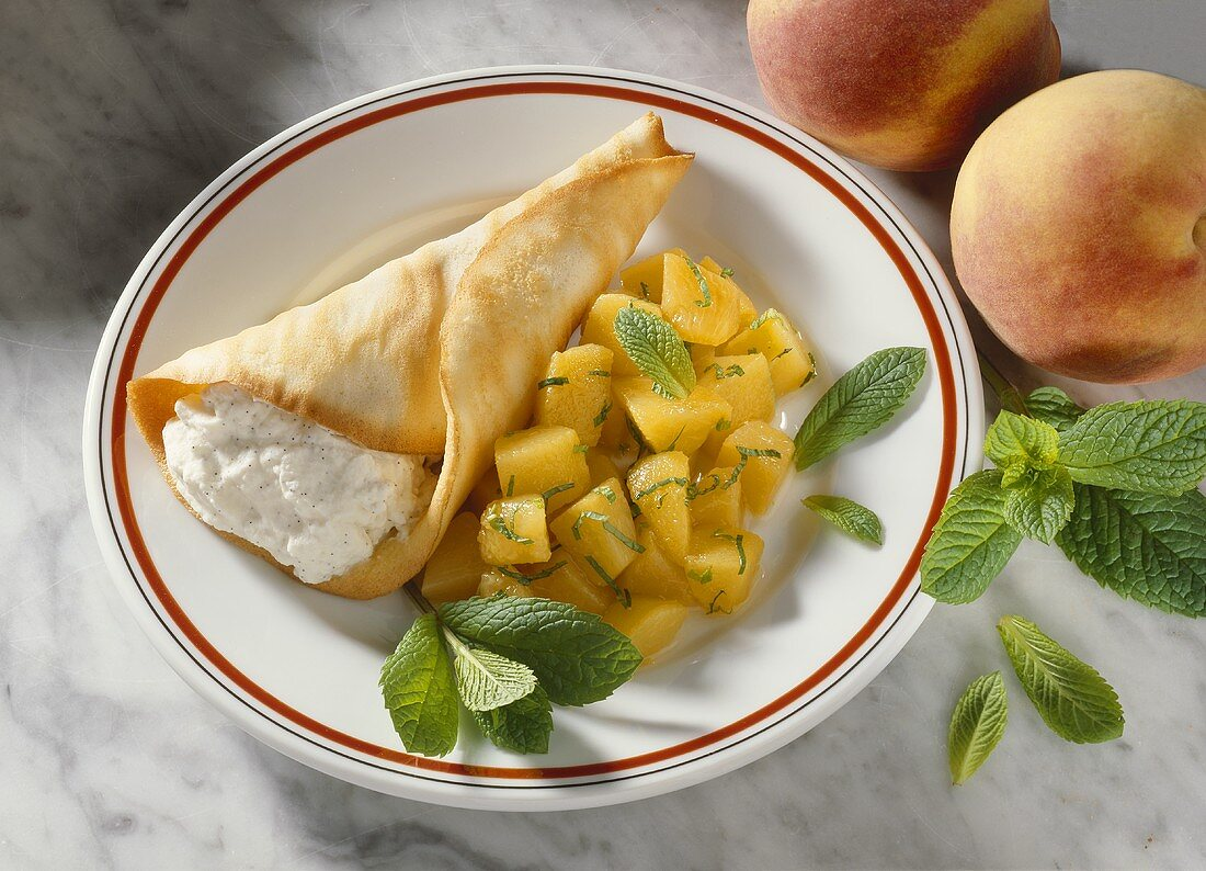Cream Bags with Peach Compote