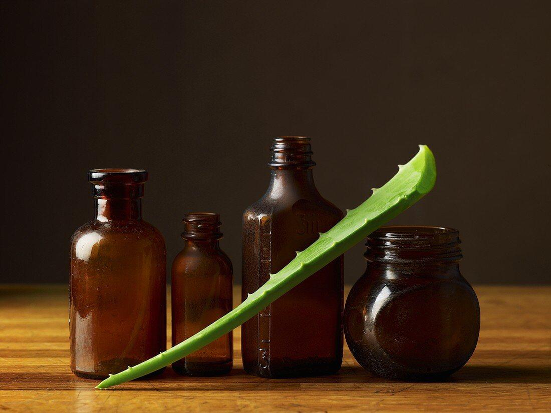 An aloe vera leaf and pharmacy bottles