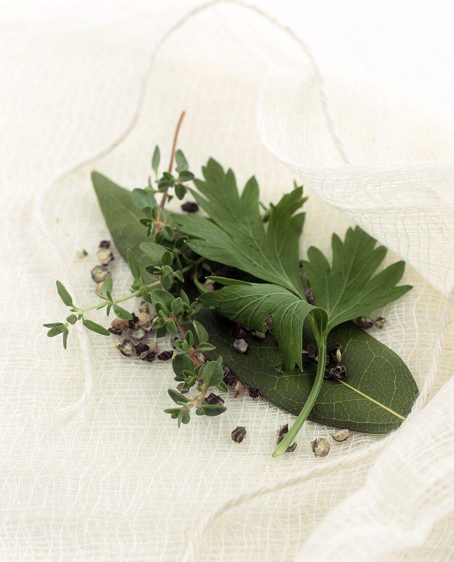 Bouquet garni on muslin with kitchen string
