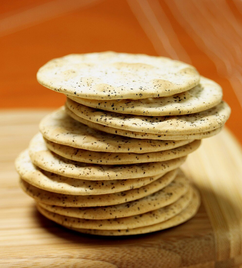 A Stack of Cracked Black Pepper Crackers