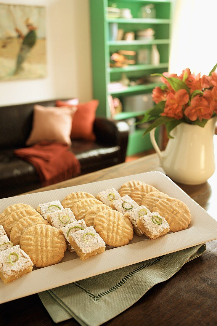 Sugar Cookies and Key Lime Bars on a Table in the Livingroom