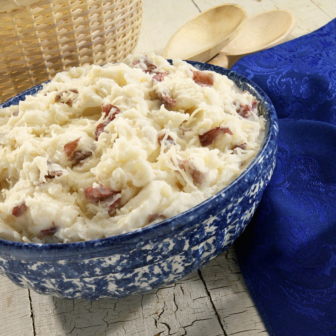Mashed red potatoes with sour cream and Parmesan