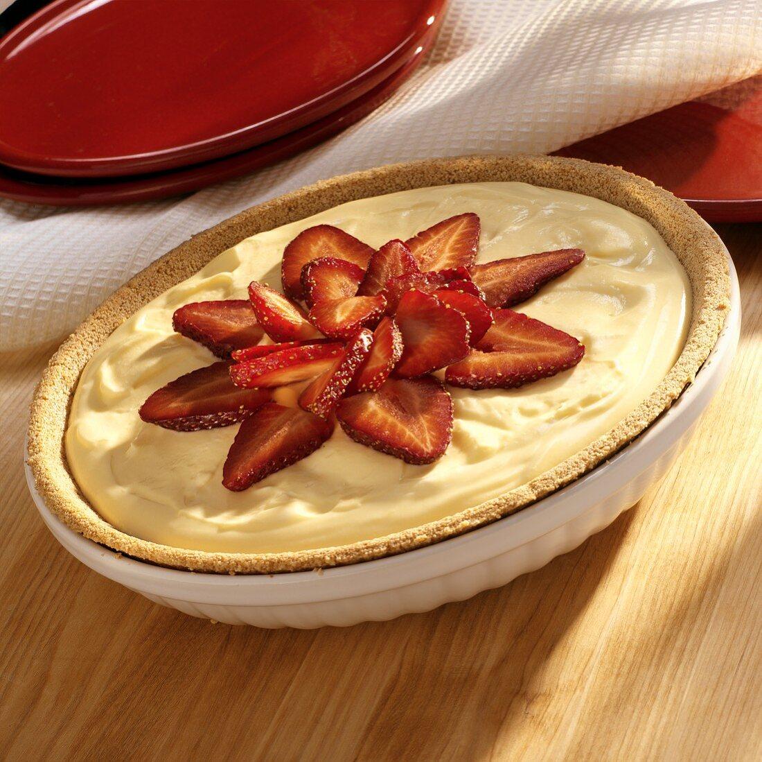 Lemon blancmange and strawberry tart