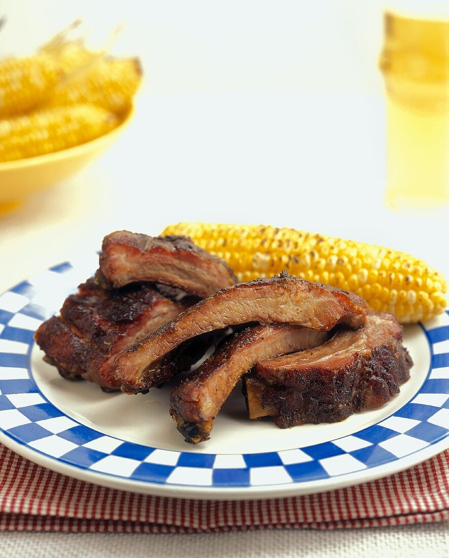 Barbecued Spare Ribs with Corn on the Cob