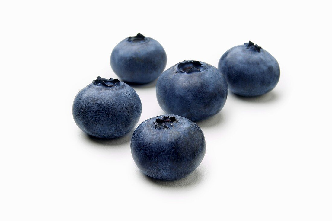 Five Blueberries on White