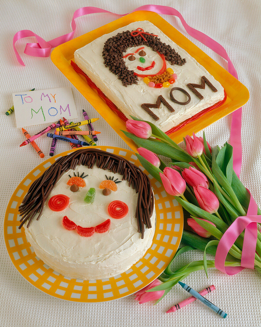 Two Mother's Day Cakes with Pink Tulips