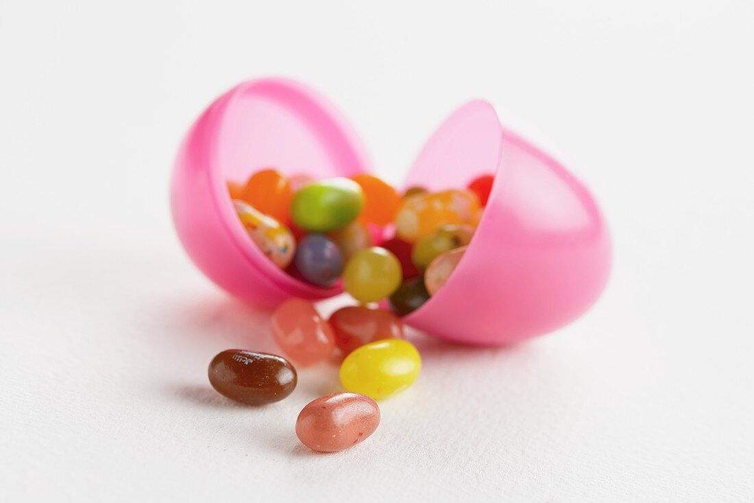 Jelly Beans Spilling from a Plastic Egg
