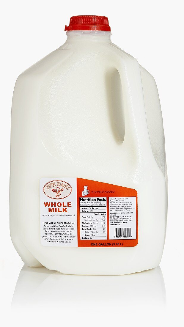 Whole milk in large plastic bottle (USA)