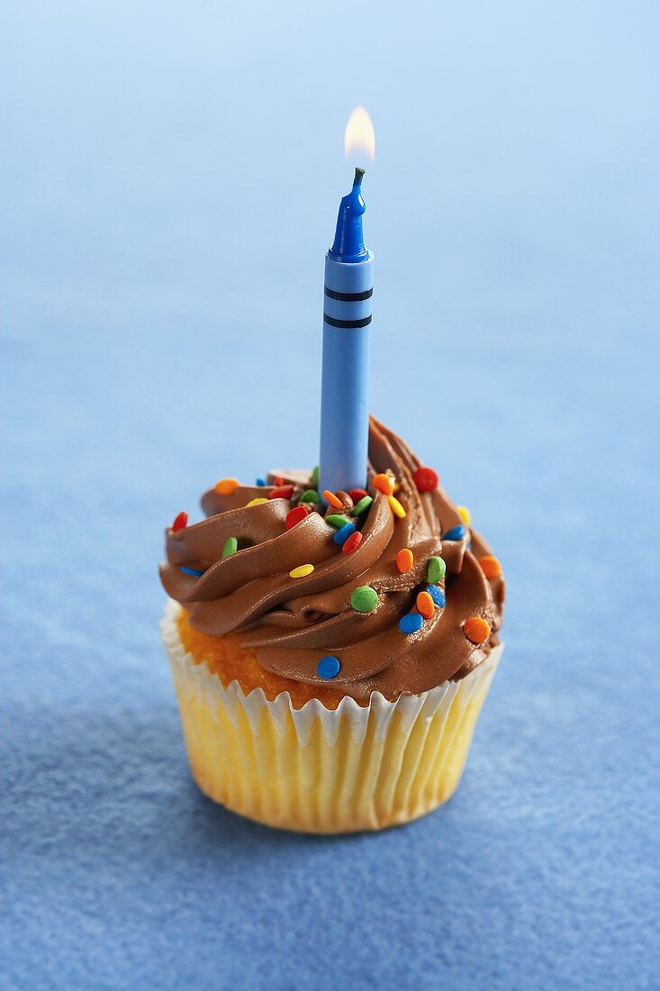 A Yellow Cupcake with Chocolate Frosting, Colored Sprinkles and a Lit Crayon Shaped Candle