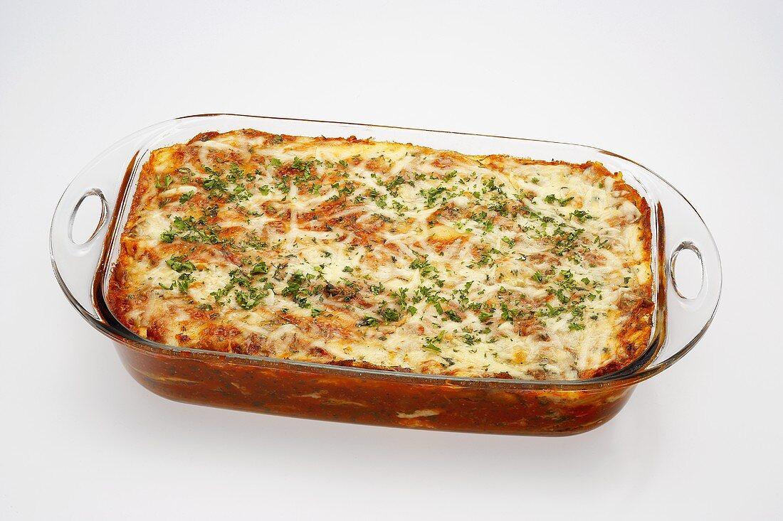 Lasagna in a Glass Baking Dish