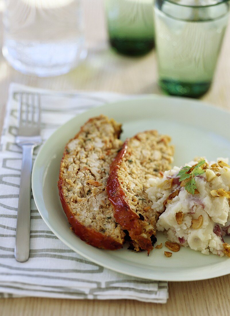 Slices of Turkey Loaf with Mashed Red Potatoes