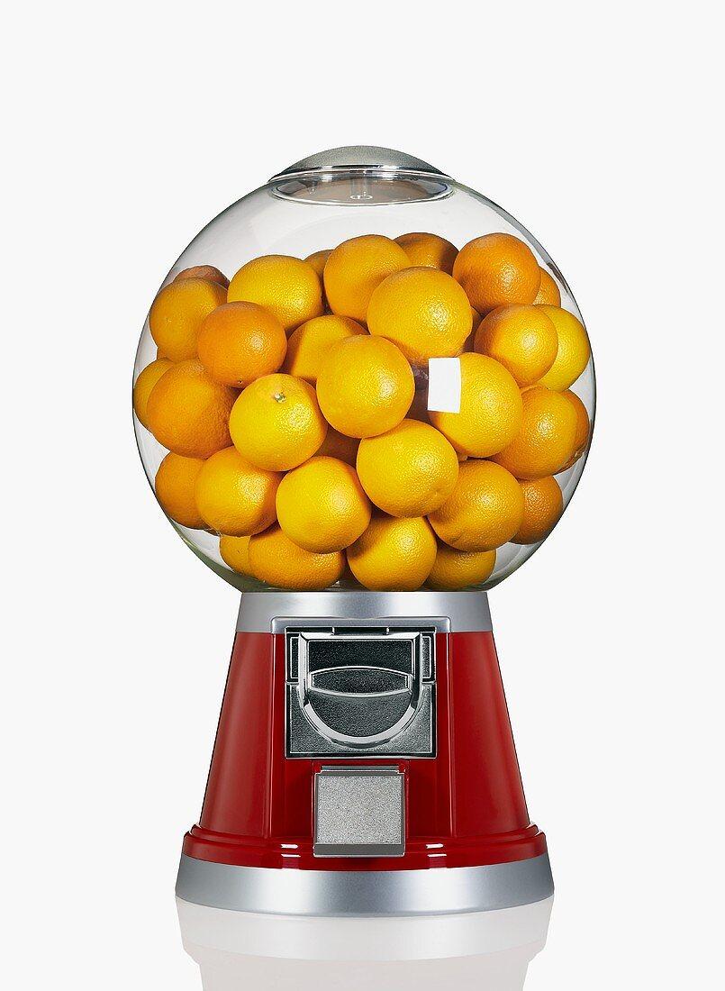 Oranges in a Candy Dispenser