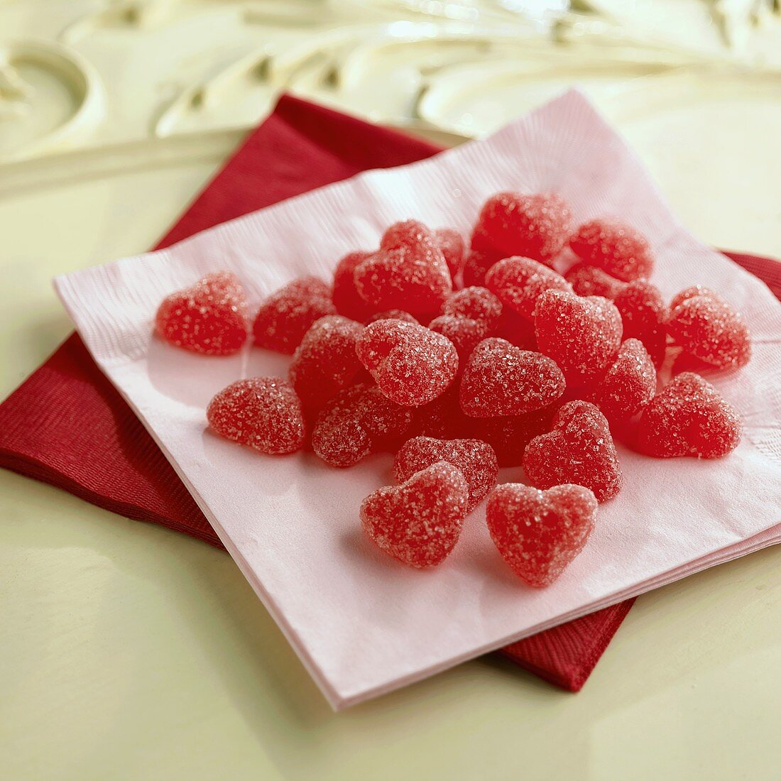Red heart-shaped fruit jelly sweets