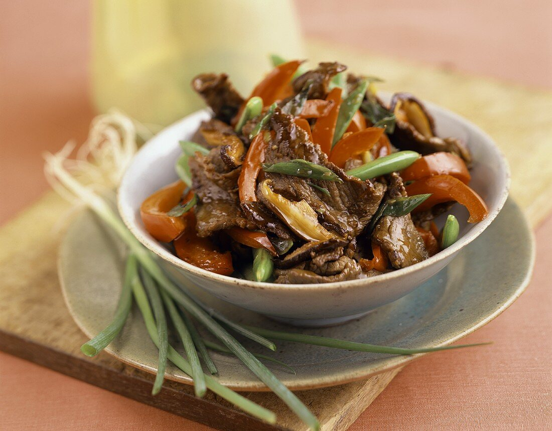 Beef Stir Fry in a Bowl with Scallions