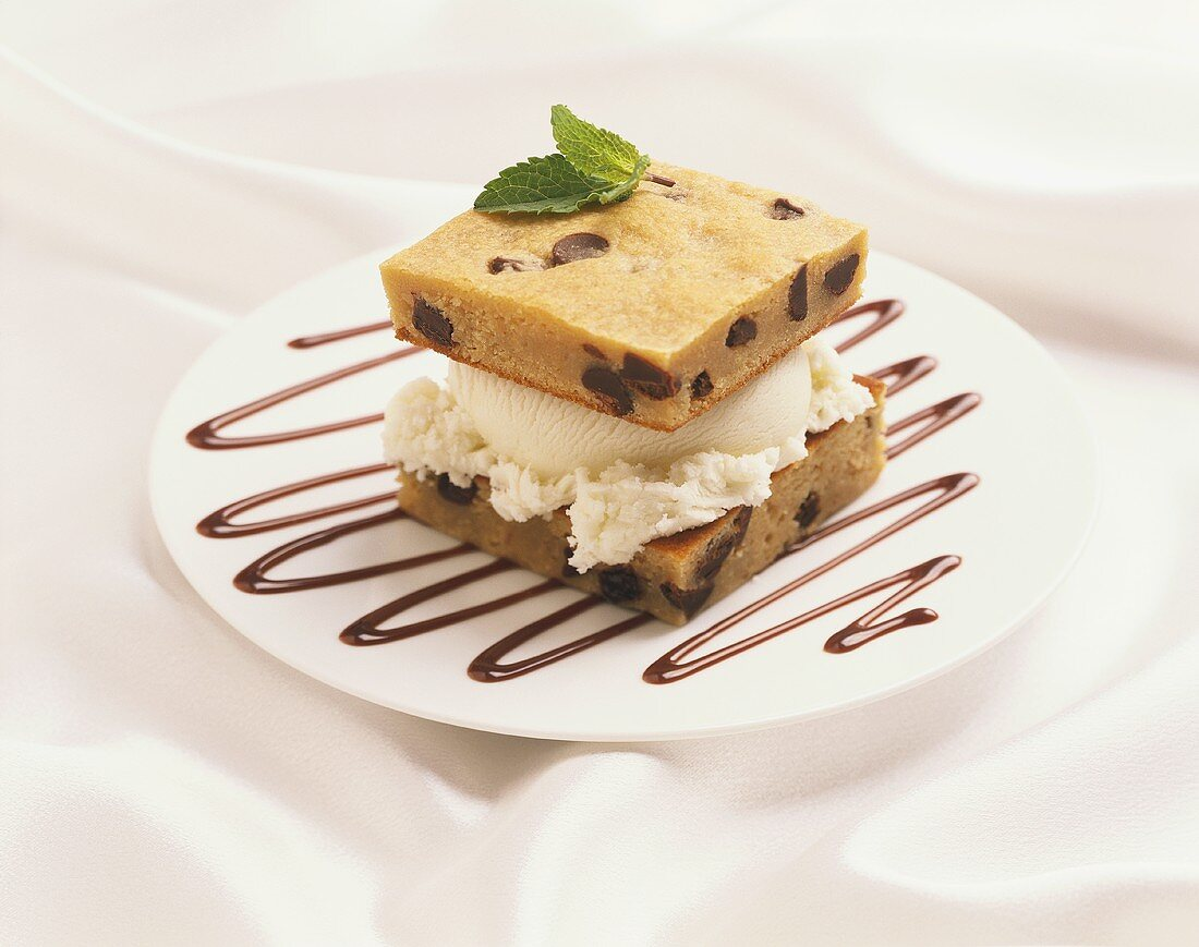A Scoop of Vanilla Ice Cream Sandwiched Between Chocolate Chip Cookie Bars