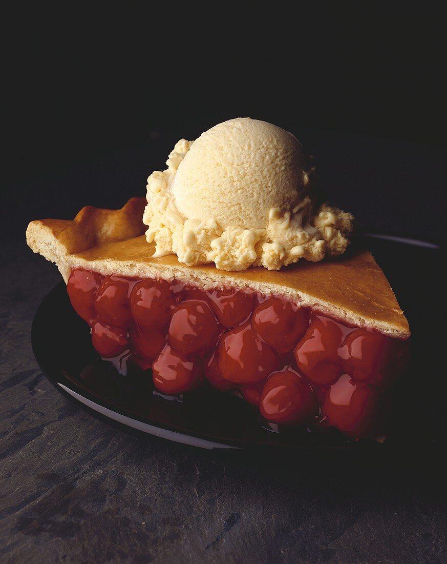 A slice of cherry pie a la mode