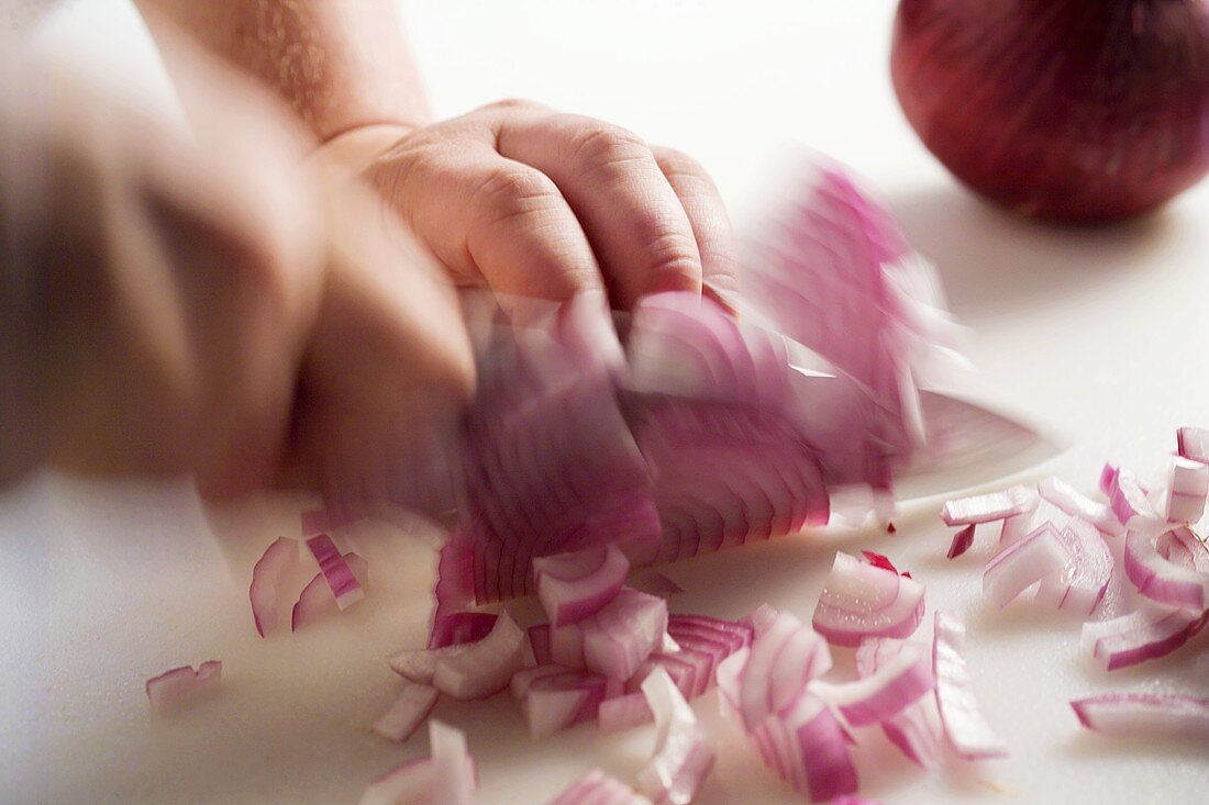 Chopping a Red Onion