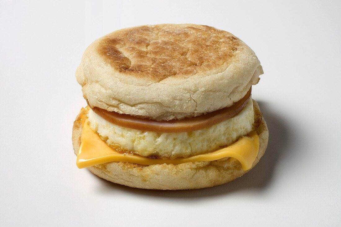 A Breakfast Sandwich with Canadian Bacon, Egg and Cheese