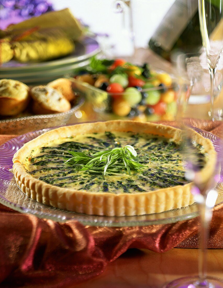 Asparagus Quiche in Brunch Setting