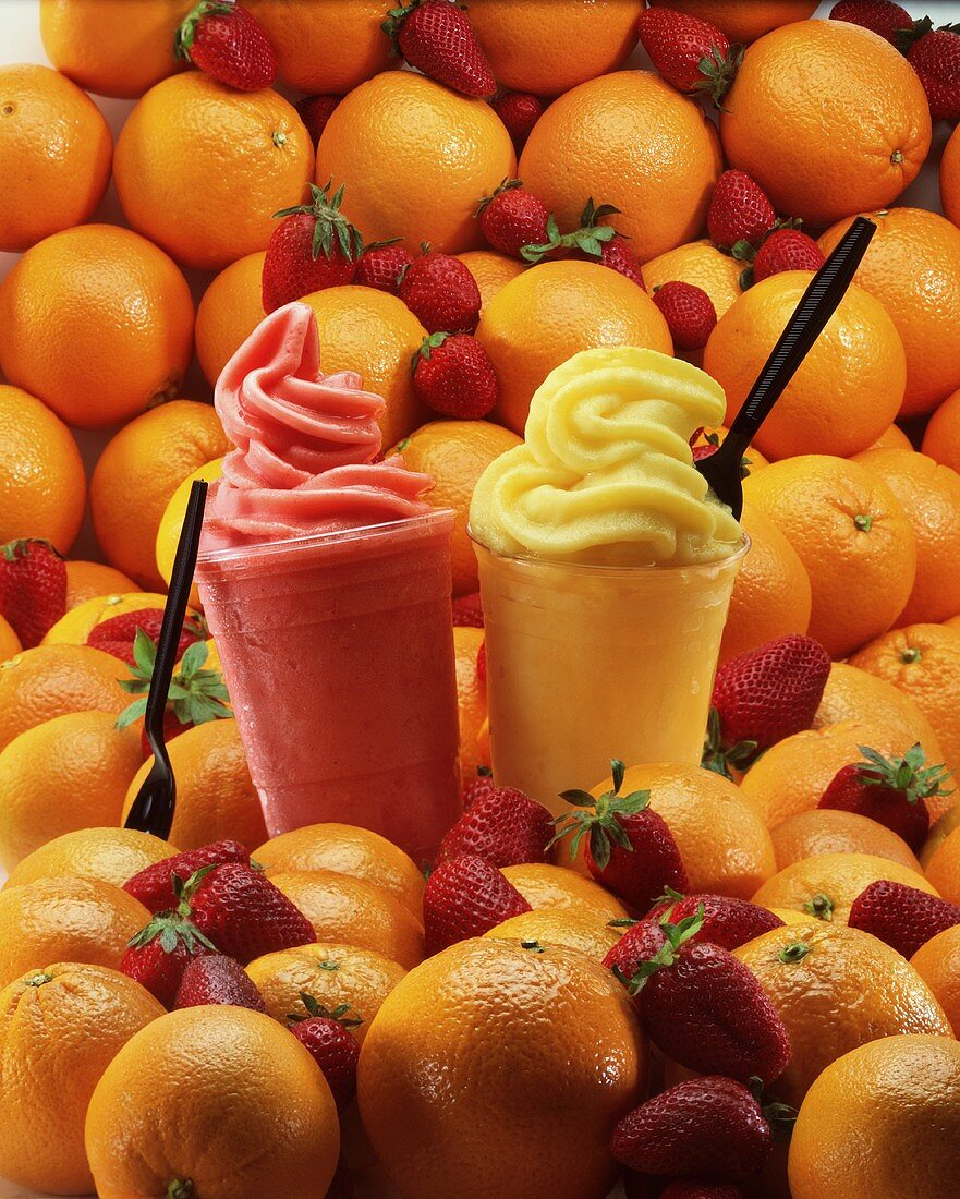 Orange and strawberry smoothies