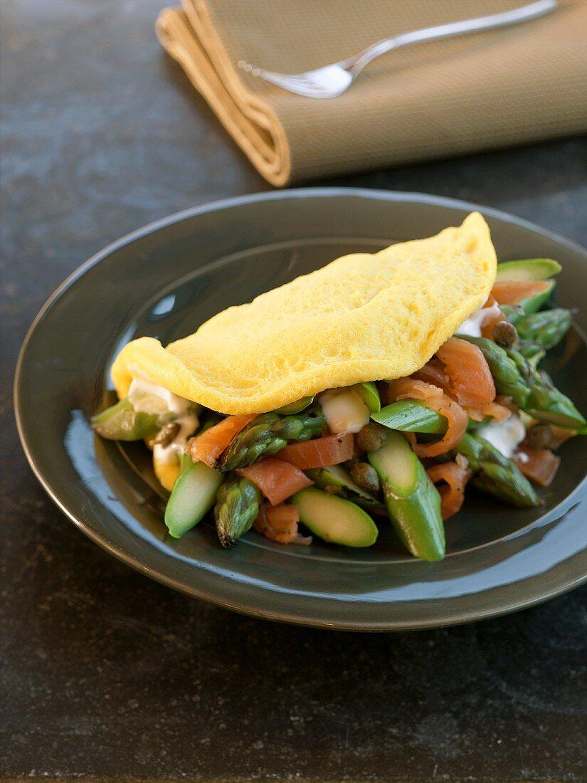 Asparagus Omelet on a Black Dish