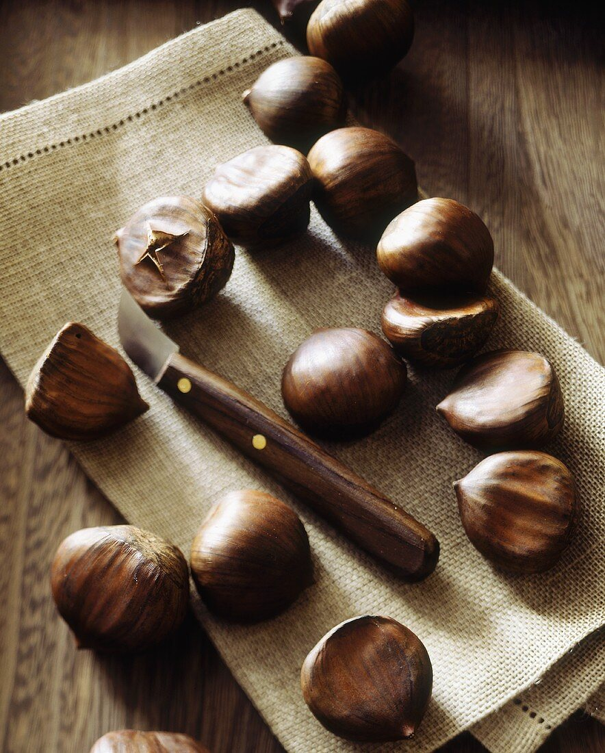 Chestnuts on Burlap with Scoring Knife
