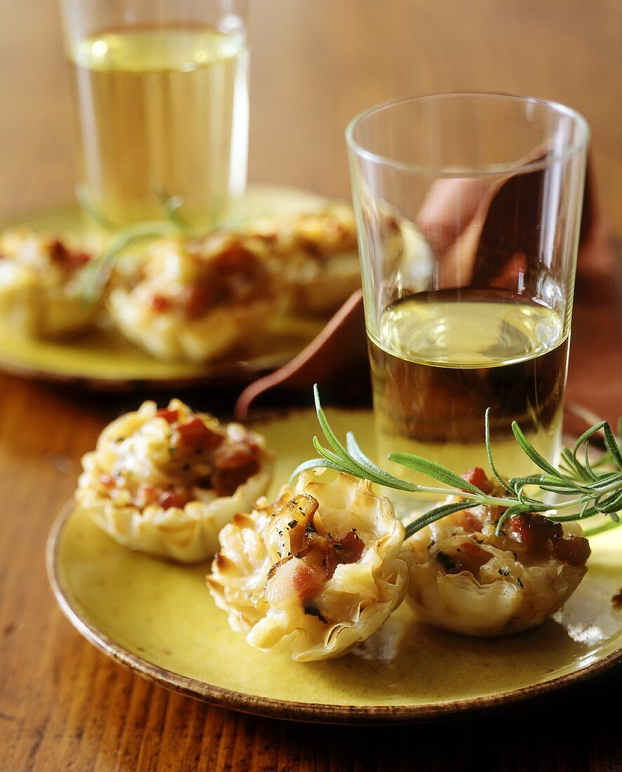 Ham and Cheese Puff Pastry Hors d'Oeuvres with White Wine