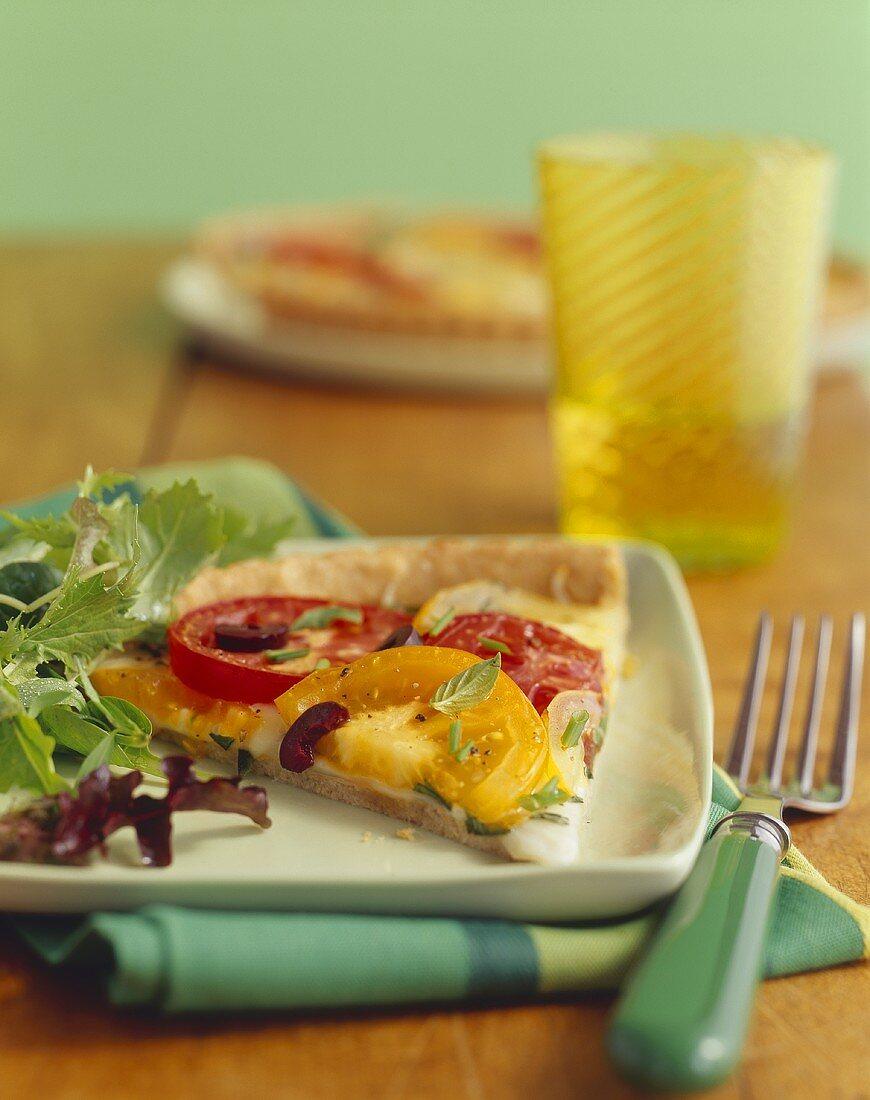 Slice of Heirloom Tomato Pizza; Side Salad