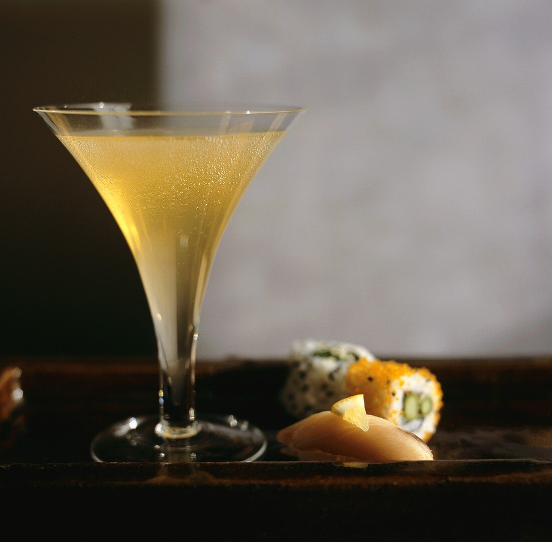 Glass of Champagne with Sushi