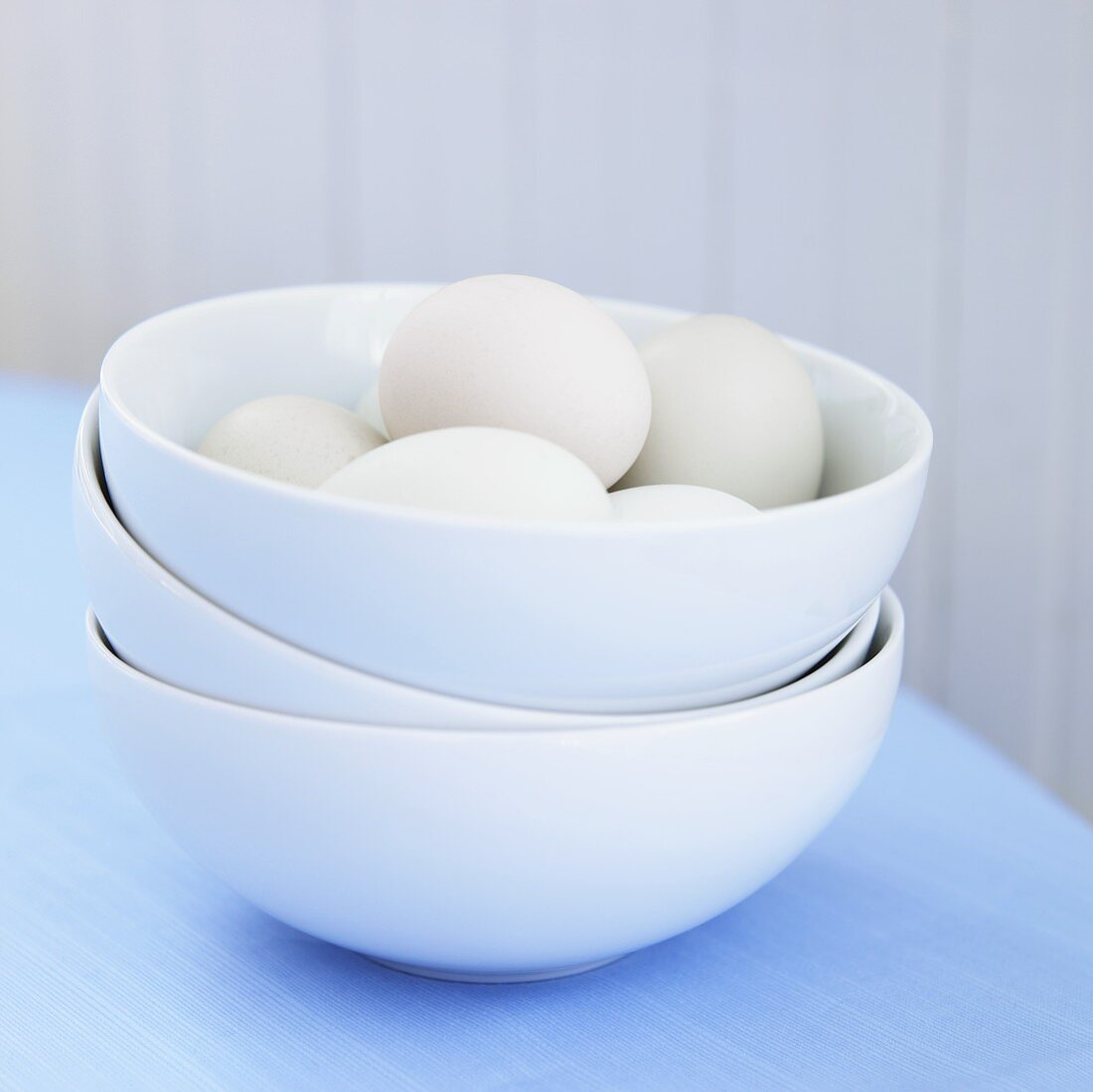 Bowl of Cage Free Hen Eggs; Stacked Bowls