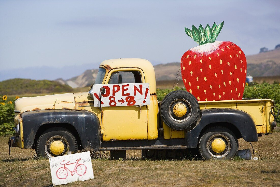 Strawberry Sign on a Truck