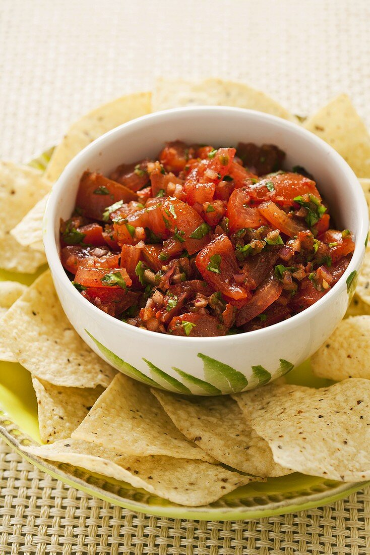 Thick and Chunky Salsa in a Bowl with Tortilla Chips