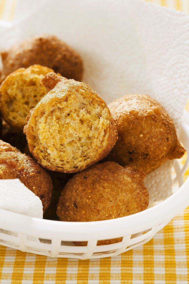 Hush Puppies in Paper Towel Lined Basket