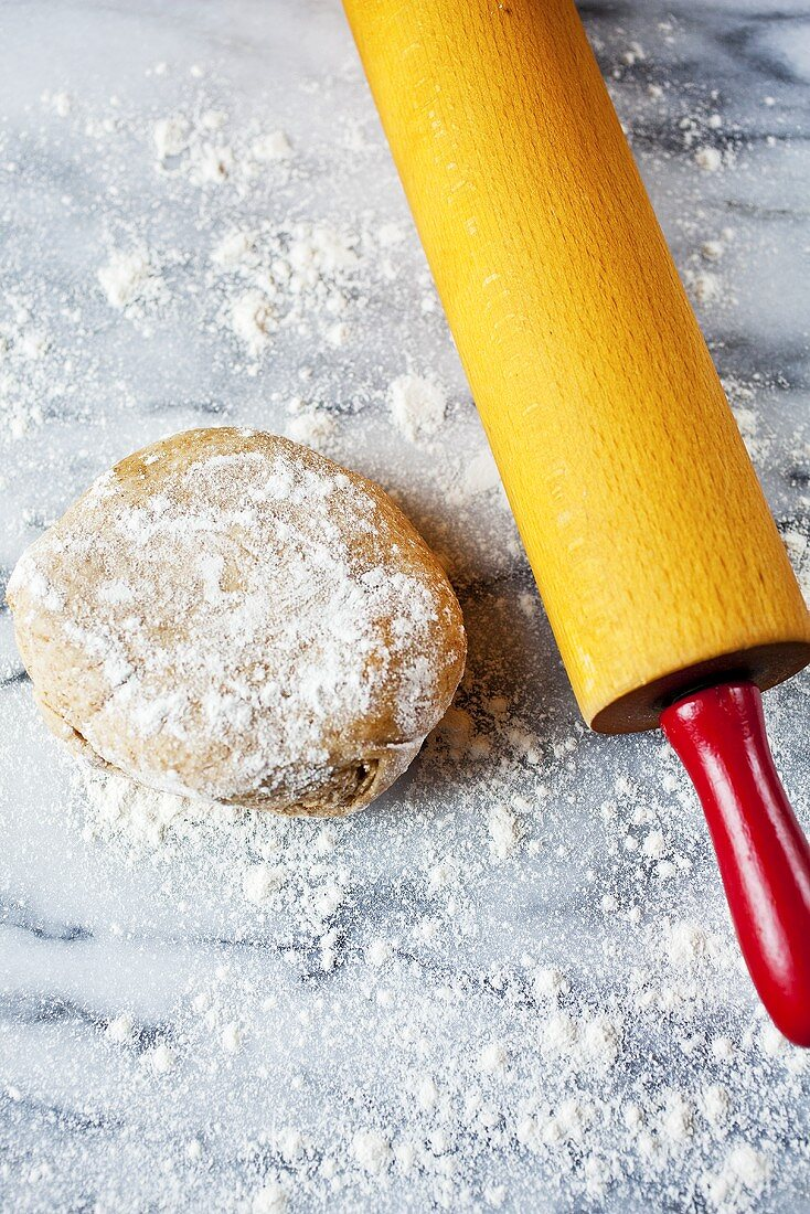 Olive Oil Dough Ball with Flour; Rolling Pin