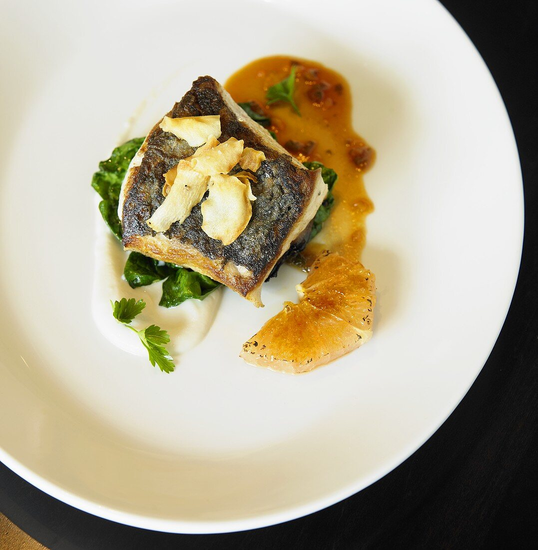 Pan Roasted Rockfish with Grapefruit Brulee and Spinach