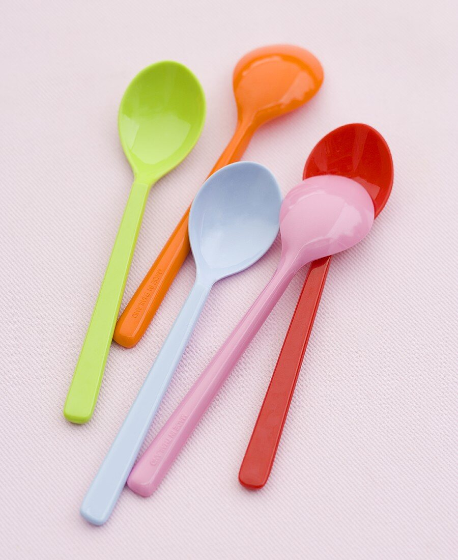 Brightly Colored Plastic Spoons