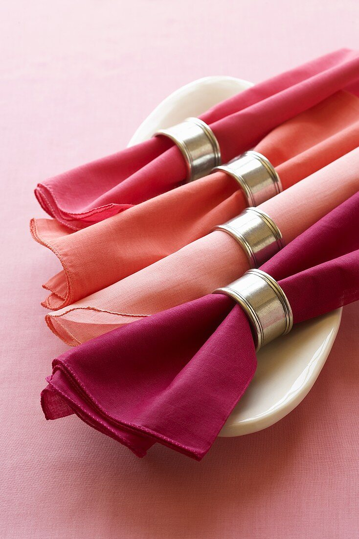Shades of Pink Cloth Napkins with Silver Napkin Rings
