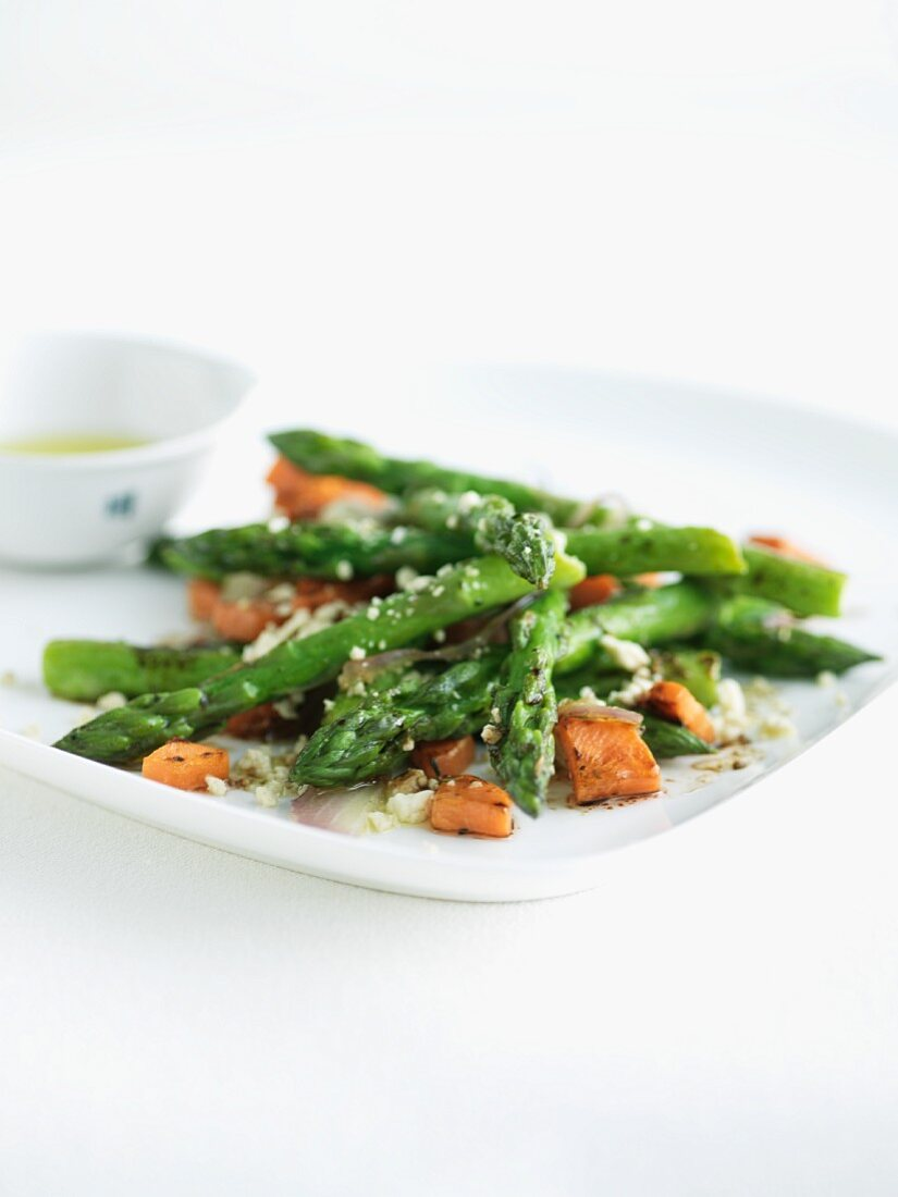 Roasted Asparagus with Cheese and Balsamic Vinaigrette