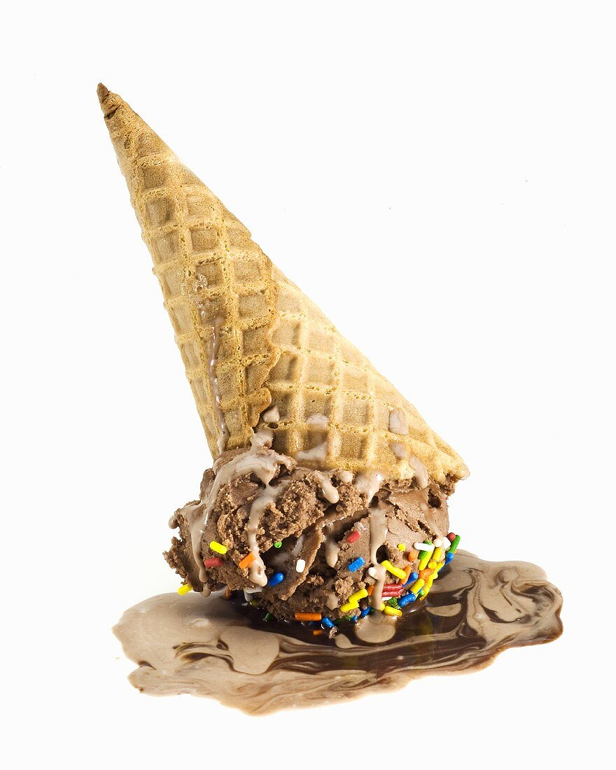 Melting Upside Down Chocolate Ice Cream Cone with Jimmies
