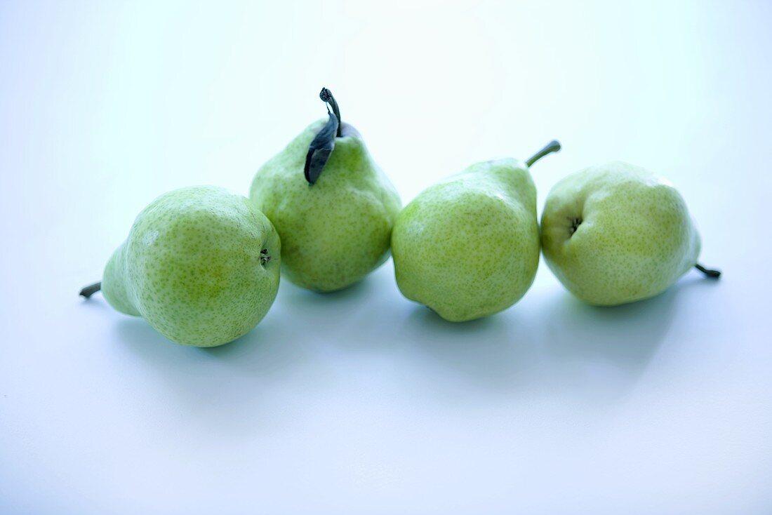 Four Green Anjou Pears