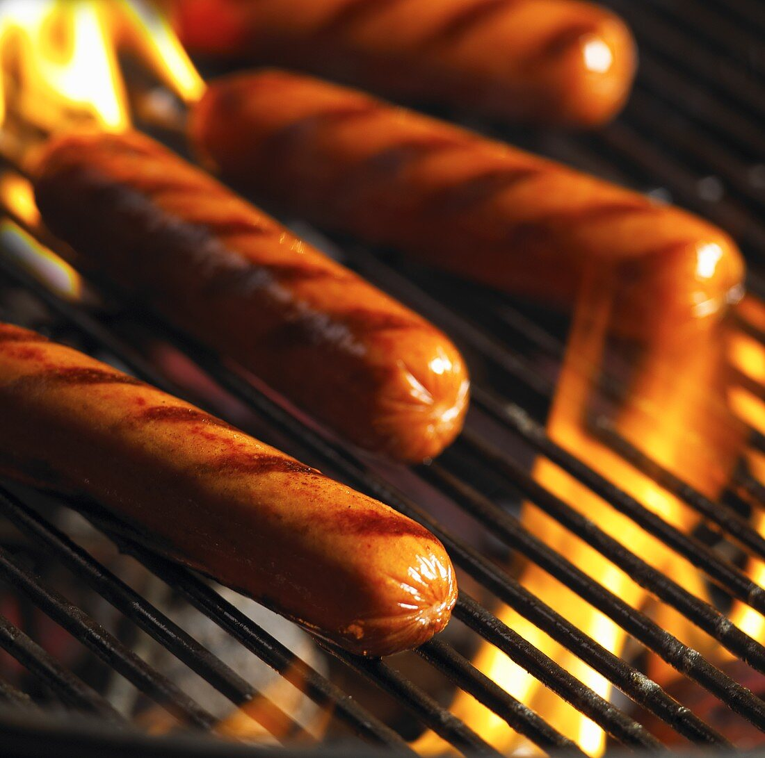 Hot Dogs on the Grill; Flames