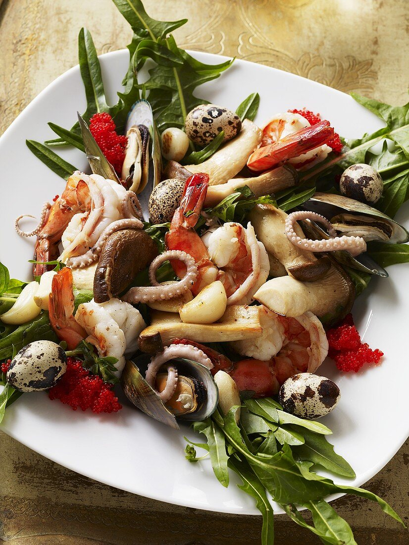 Seafood Dish with Quail Eggs