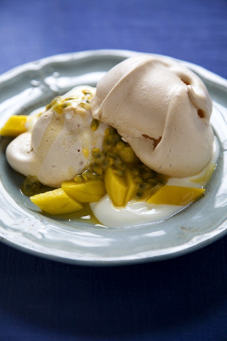 Ginger Meringues with Mango, Passion Fruit and Yogurt