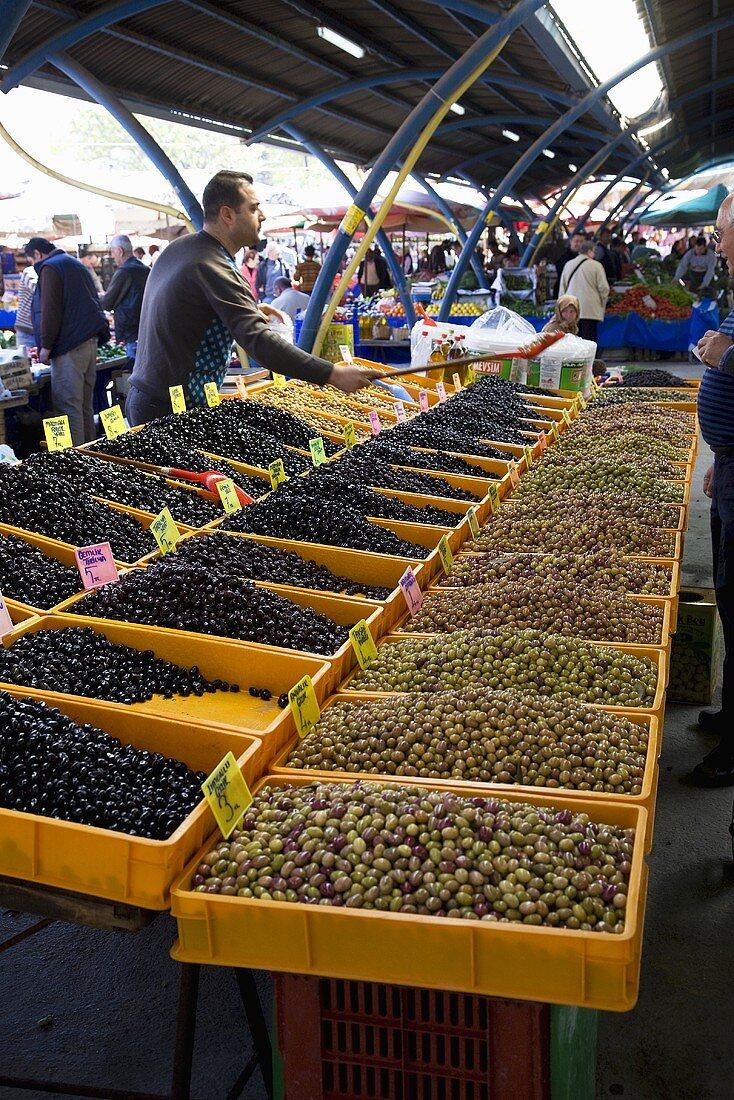 Olive Stall; Market in Foca, Turkey