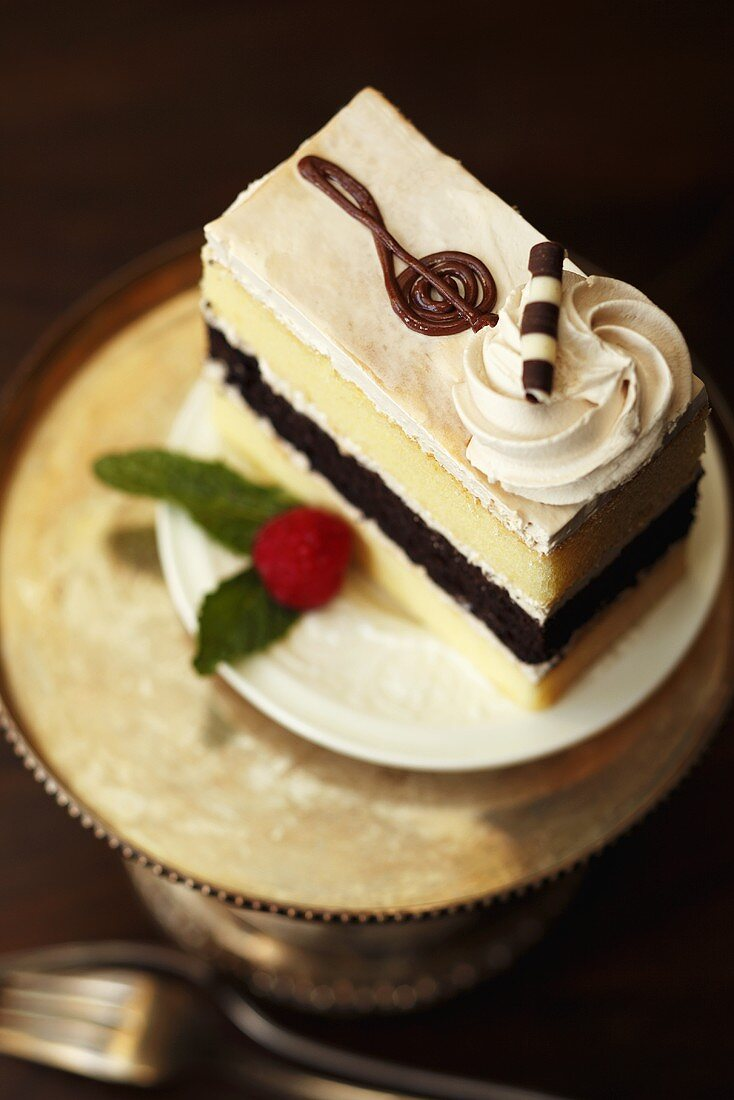 Piece of Cappuccino Cake; Treble Clef Decoration