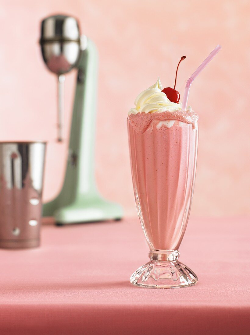 Old Fashioned Strawberry Shake with Straw
