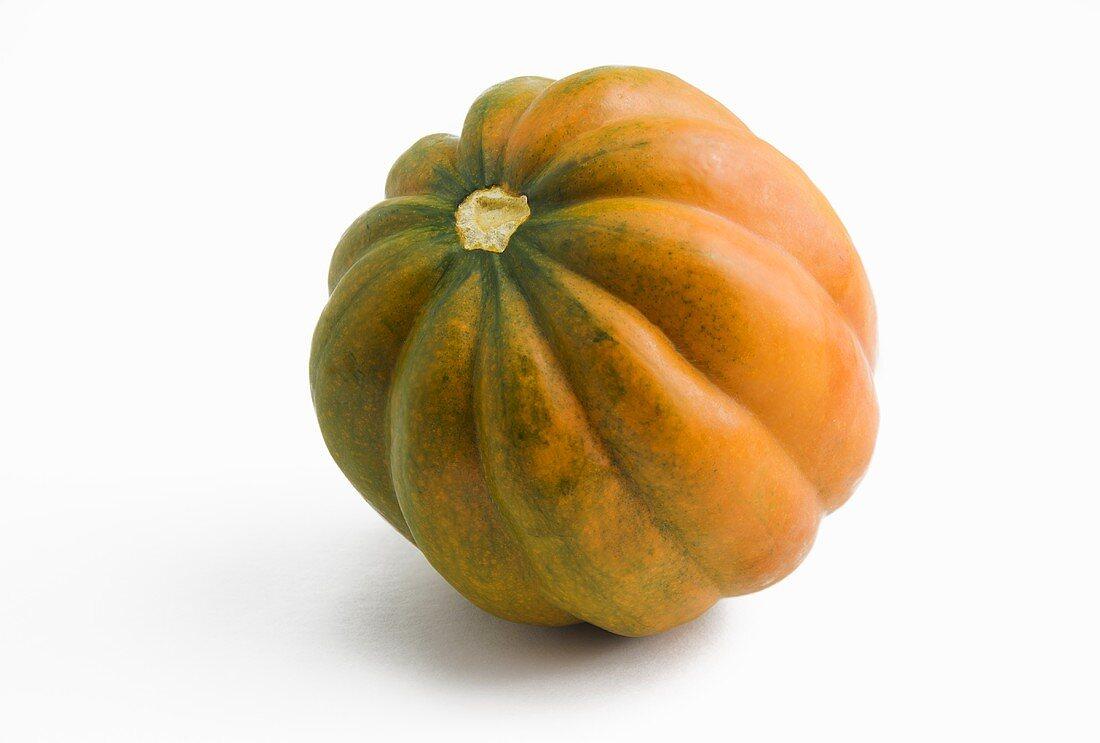 Ripe Orange and Green Acorn Squash; White Background